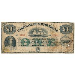 UNION BANK OF NEWFOUNDLAND. One Pound. May 1, 1880. CH-750-14-06. No. E….