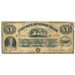 UNION BANK OF NEWFOUNDLAND. One Pound. May 1, 1880. CH-750-14-06. No. B….