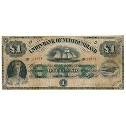 UNION BANK OF NEWFOUNDLAND. One Pound. May 1, 1880. CH-750-14-06. No. E….