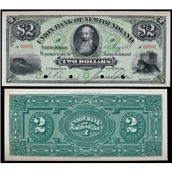 UNION BANK OF NEWFOUNDLAND. $2.00. May 1, 1882. CH-750-16-02P. A full c….