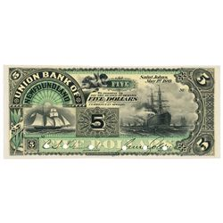 UNION BANK OF NEWFOUNDLAND. $5.00. May 1, 1889. CH-750-16-04P. Full col….