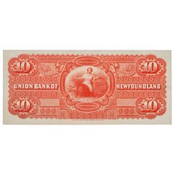 UNION BANK OF NEWFOUNDLAND. $10.00. May 1, 1889. CH-750-16-06P. Full co….