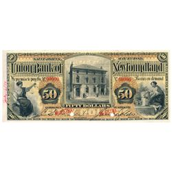 UNION BANK OF NEWFOUNDLAND. $50.00 May 1, 1889. CH-750-16-10. A full co….