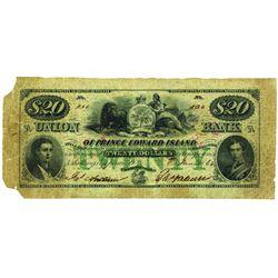 UNION BANK OF PRINCE EDWARD ISLAND. $20.00. 1864. CH-755-10-08R. PMG F-15 Net.