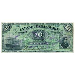 LA BANQUE VILLE MARIE. $10.00. Jan. 2, 1889. CH-785-14-04. No. 8075/A.….