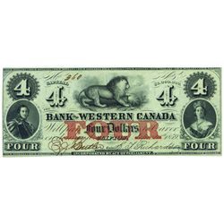 THE BANK OF WESTERN CANADA. $4.00. CH-795-10-12. PMG AU-58.