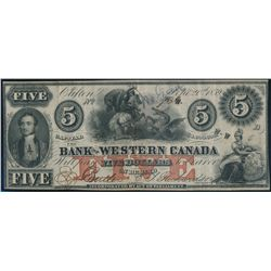 THE BANK OF WESTERN CANADA. $5.00. Sept. 20, 1859. CH-795-10-16. No. 73….