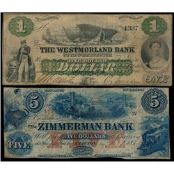 THE WESTMORLAND BANK OF NEW BRUNS. $1.00. Aug. 1, 1861. CH-800-12-02. N….