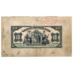 THE WEYBURN SECURITY BANK. $10.00. Jan. 3, 1911 issue. CH-805-10-04MP.….