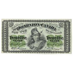 DOMINION OF CANADA.  25 CENTS.  March 1, 1870.  DC-1c.  Plain.  BCS gradedO…