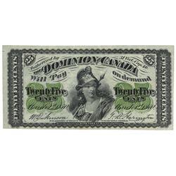 DOMINION OF CANADA.  25 CENTS.  March 1, 1870.  DC-1c.  Plain.  BCS Origina…