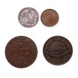ANGOLA.  1/2 Macota.  KM#56.  1851.  EF;  AUSTRALIA.  1 Penny Token.  L.A. …