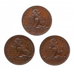 BELGIUM.  5 Centimes.  KM#5.2.  1850.  VF;  1858.  EF;  1859.  AU.  Lot of …