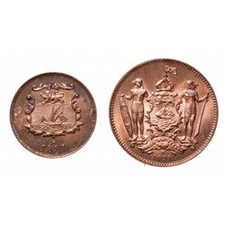 BRITISH NORTH BORNEO.  1/2 Cent.  1891-H.  KM#1.  1 Cent.  1891-H.  KM#2.  …