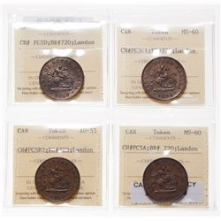 Breton-720.  PC-5A.  1/2d.  1850.  ICCS Mint State-60;  PC-5B2.  1/2d.  185…