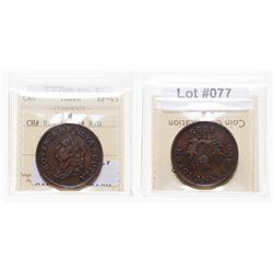 Breton-870.  NS-4A1.  One Penny Token.  1832.  ICCS Extra Fine-45.