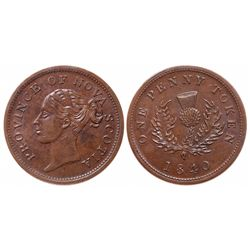Breton-873.  NS-2C1.  One Penny Token.  1840.  ICCS Mint State-60