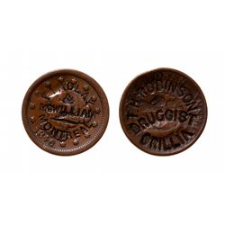 Counterstamps. 1). T.H. ROBINSON/DRUGGIST.ORILLA.  On a 1852, 1/2d. Token; …