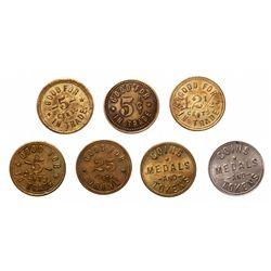 Breton-628.  N.T. 5 Cents.  Brass;  Breton-629.  A.P. 5 Cents. Brass;  Bret…