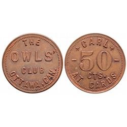 Breton-792.  Owl's Club.  50 Cents at cards.  Copper. Unc.