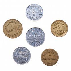 Breton-797.  Foster Sinden, Simcoe, Ont.  5 Cents.  Brass.  AU;  Breton-843…