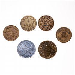 Breton-849.  Oliver Clark.  Brantford.  5 Cents.  Alum.  Unc;  Breton-853. …