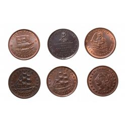 HARD TIMES TOKENS.  Running Boar.  HT#9;  Daniel Webster.  HT#16 & HT#18, 1…