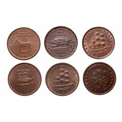 HARD TIMES TOKENS.  Running Boar.  HT#9;  Daniel Webster.  HT#16 & HT#18, 1…