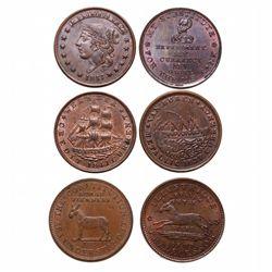 HARD TIMES TOKENS.  Running Boar.  HT#9;  Daniel Webster.  HT#16 & HT18, 18…