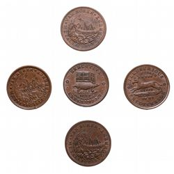 HARD TIMES TOKENS.  Daniel Webster. 1841.  HT#18. (3 pcs.);  Illustrious Pr…