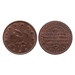 HARD TIMES TOKENS.  S. Maycock & Co.  1837.  HT#290.  Unc.  25% luster.