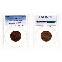 Half Cent.  1832.  PCGS graded Mint State-62.  Brown.