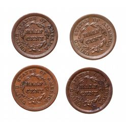 Half Cents.  1850, (2 pcs.);  1854, 1857.  Lot of four (4) half cents, all …