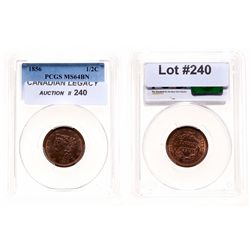 Half Cent.  1856.  PCGS graded Mint State-64. Brown.