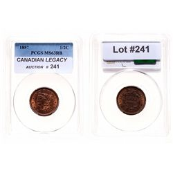 Half Cent.  1857.  PCGS graded Mint State-63. Red-Brown.  40% red luster.