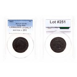 Large Cent.  1812.  PCGS graded Very Good-10.