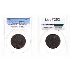 Large Cent.  1814. Plain 4.  PCGS graded Genuine, Fine details. Cleaning.