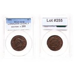 Large Cent.  1816.  PCGS graded Extra Fine-40.