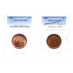 Large Cent.  1855.  PCGS graded Mint State-63, Red-Brown,  60% luster;  185…
