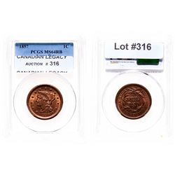 Large Cent.  1857. Large Date.  PCGS graded Mint State-64, Red-Brown.  50% …
