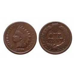 ONE CENT.  1877.  Very Good-8.  The 'key' date of the Indian Head series.