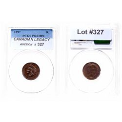 Indian Head Cent.  1897.  PCGS graded Proof-63. Brown.