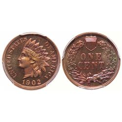 Indian Head Cent.  1902.  PCGS graded Proof-66, Red-Brown.  40% red luster.