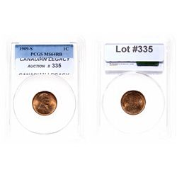 Lincoln Cent.  1909-S.  PCGS graded Mint State-64. Red-Brown.  65% red lust…