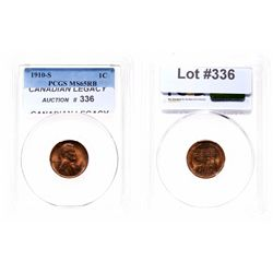 Lincoln Cent.  1910-S.  PCGS graded Mint State-65. Red-Brown.  60% red lust…