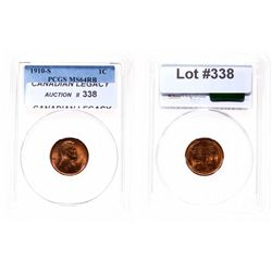Lincoln Cent.  1910-S.  PCGS graded Mint State-64. Red-Brown.  60% red.