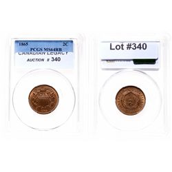 Two Cents.  1865.  PCGS graded Mint State-64. Red-Brown.  50% luster.