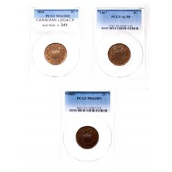 Two Cents.  1867.  PCGS graded AU-58. Brown;  1868.  PCGS graded Mint State…