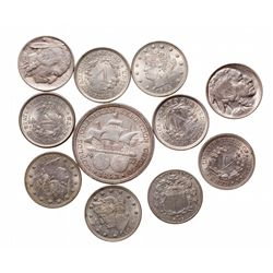 Five Cents.  1882. Shield.  VF-20;  Liberty Head.  1883, (2 pcs.); 1893, (2…