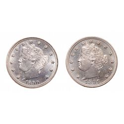 Five Cents.  1890,  1897.  Both Proof-63.